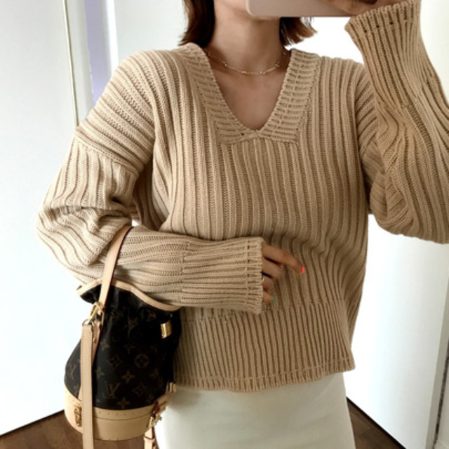 Ribbed Extended Sleeve Sweater