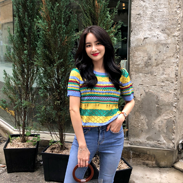 Color Block Eyelet Knit Top