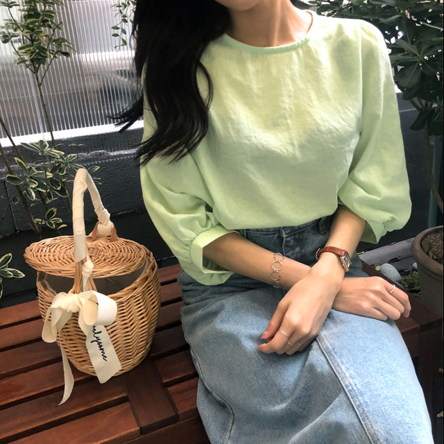 Balloon Sleeve Solid Tone Blouse