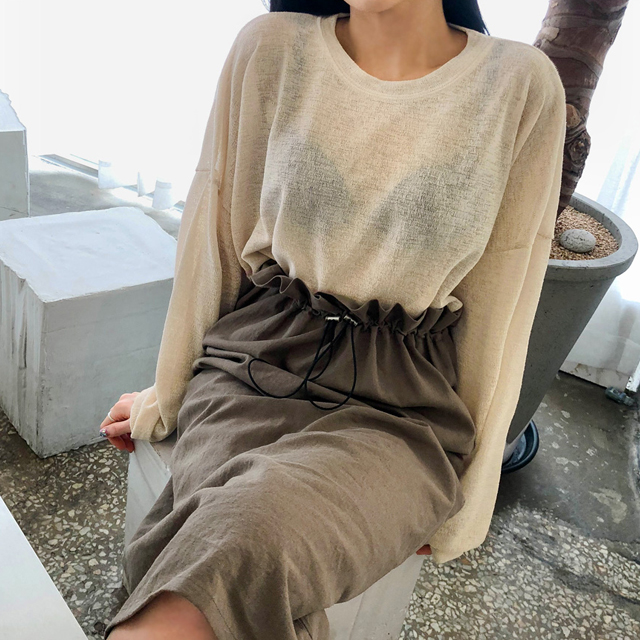 Drop Shoulder Sheer Knit T-Shirt