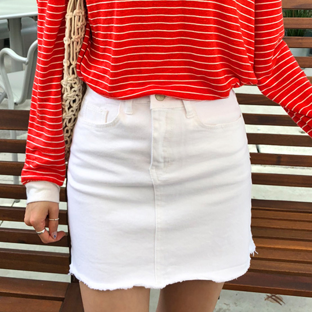 Raw Hem White Mini Skirt