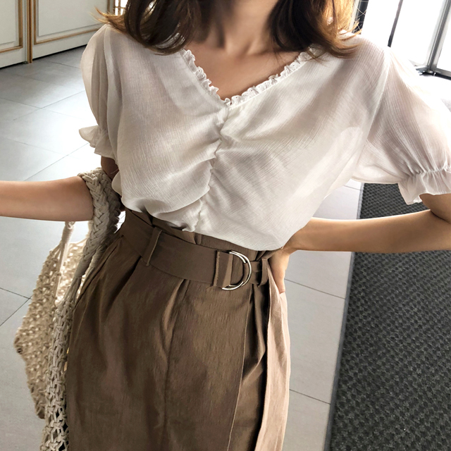 Tie-Neck Frill Trim Blouse