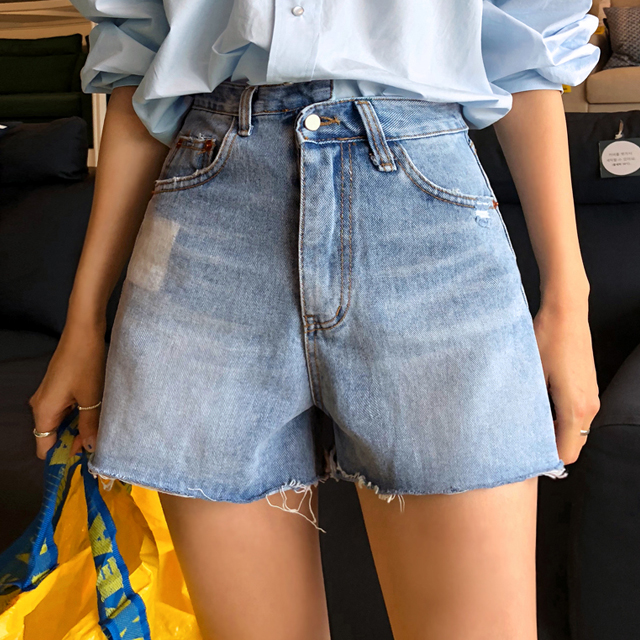 Whiskered Faded Patch Denim Shorts