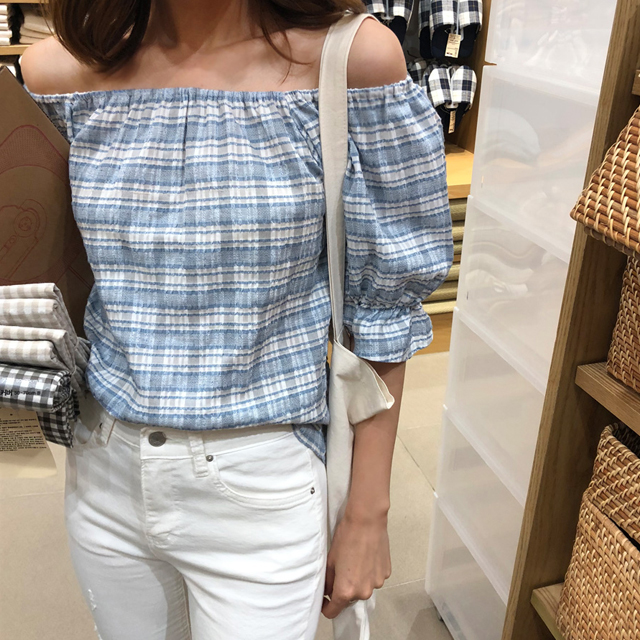 Flared Cuff Check Blouse