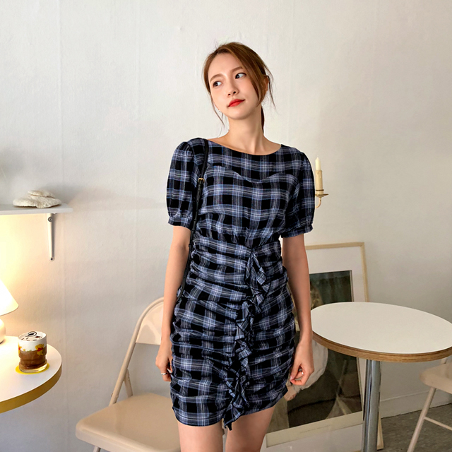 Ruched Check Dress