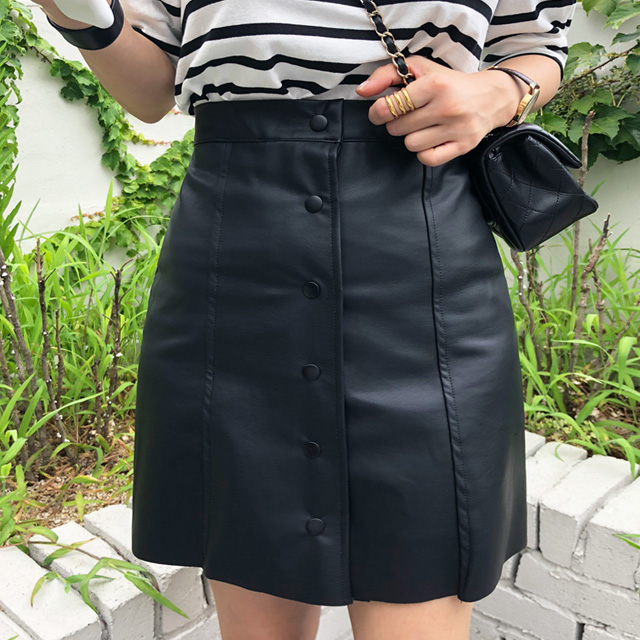 Snap Button Pleather Skirt