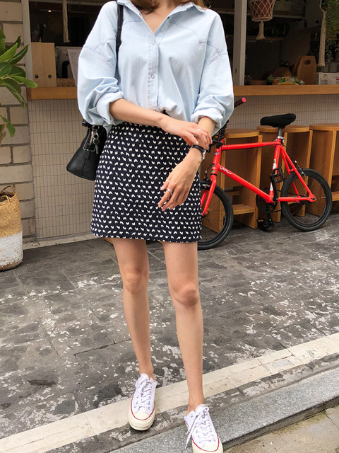 Patterned Straight Cut Mini Skirt