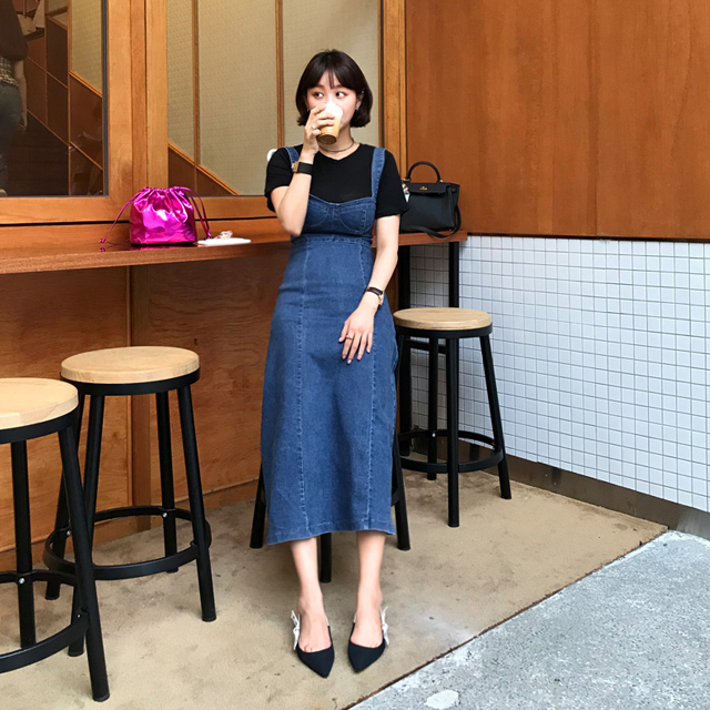 Fit-and-Flare Pinafore Denim Dress