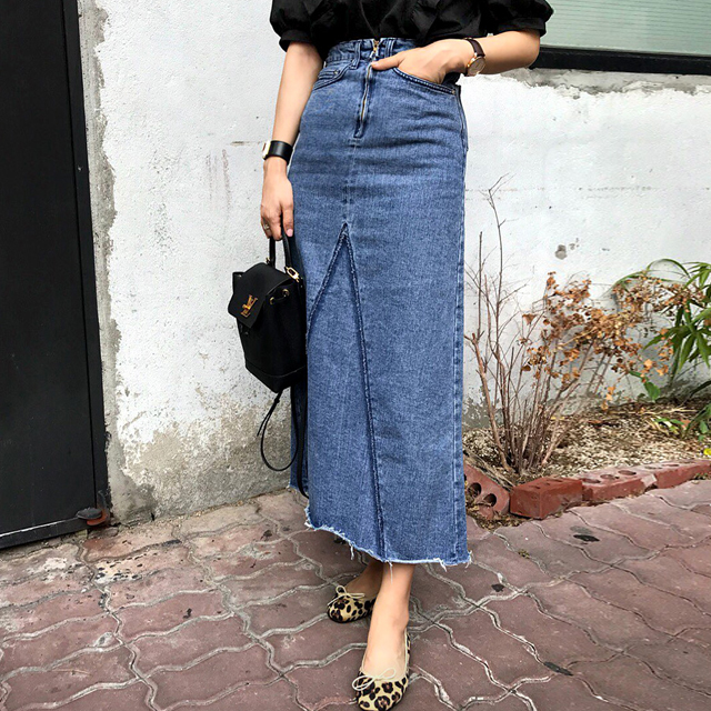 Raw Hem Midaxi Denim Skirt