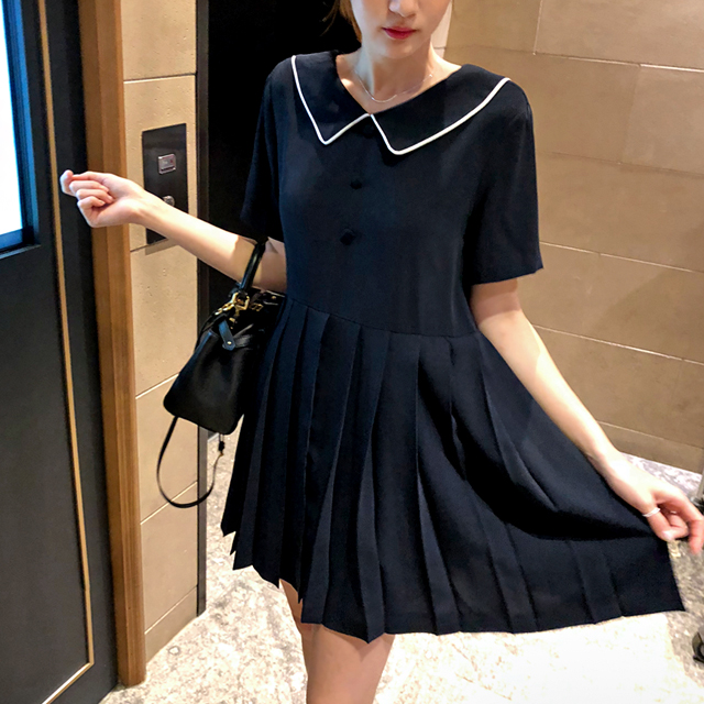 Contrast Trim Pleated Dress