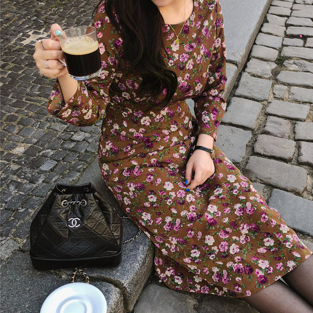 Floral Print Mid-Calf Dress