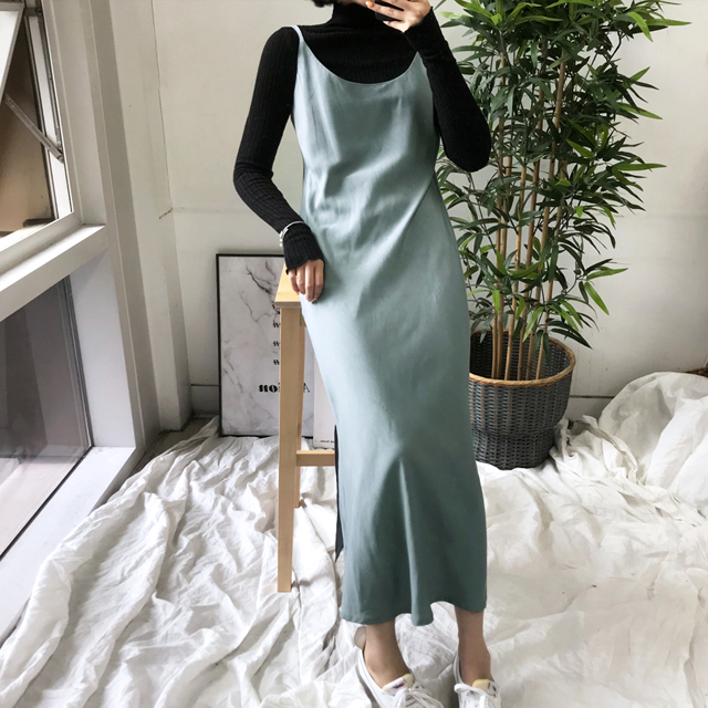 Scoop Neck Long Slip Dress
