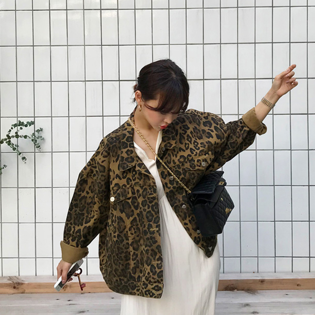 Leopard Print Button-Up Jacket