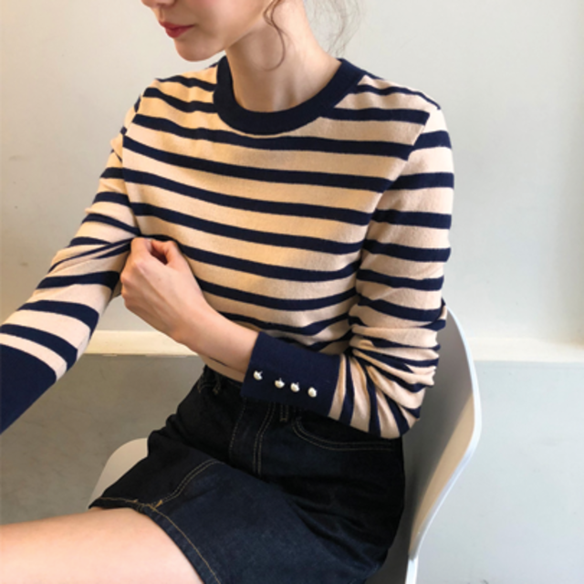 Faux Pearl Cuff Stripe Knit Top