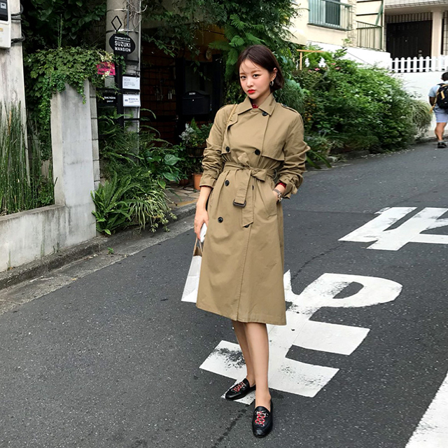 Double-Breasted Striped Lining Trench Coat