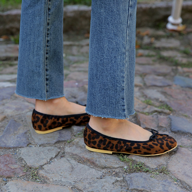Faux Leather Leopard Ballet Flats