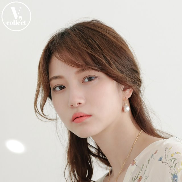 [V,Collect] Pearl Fish Hook Earrings