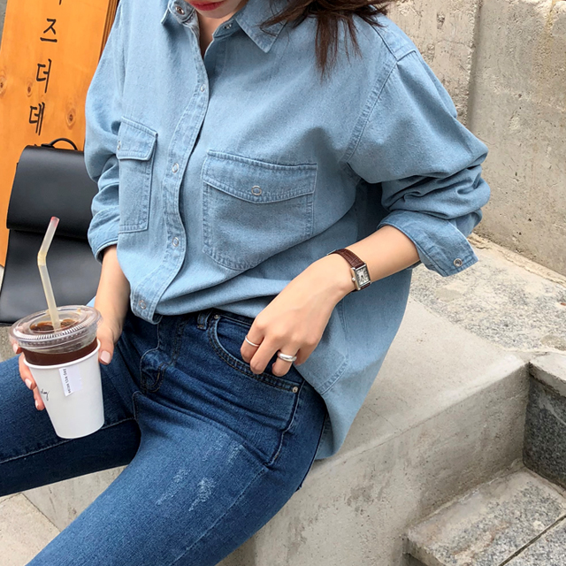 [THX,V] NO.604 Snap-Up Denim Shirt
