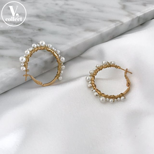 [V,Collect] Faux Pearl Hoop Earrings