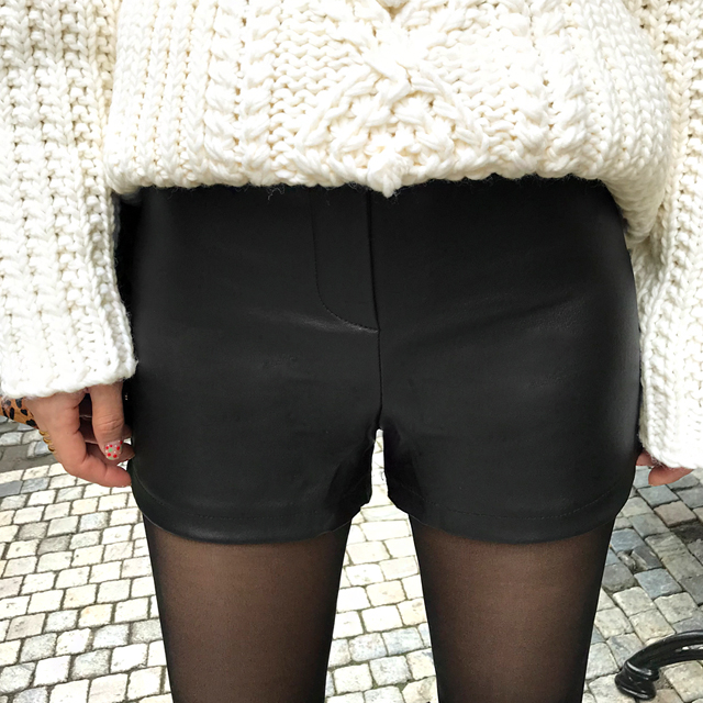 Coated High-Waist Shorts