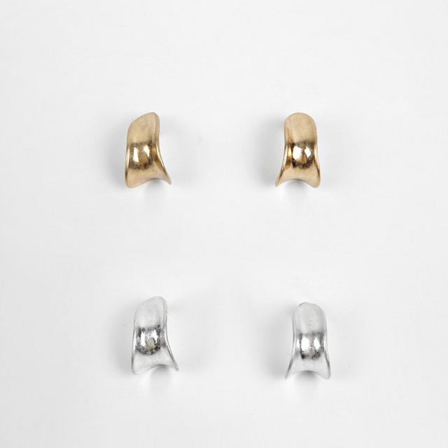 Metallic Concave Push Back Earrings