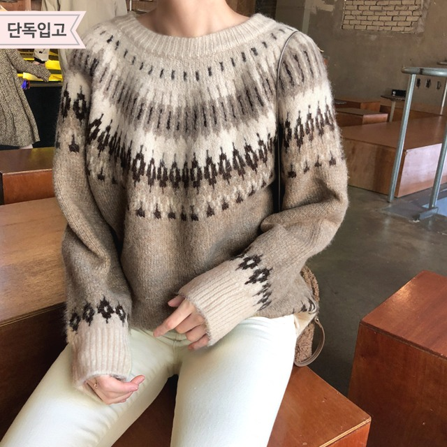 Crew Neck Fairisle Pattern Knit Top
