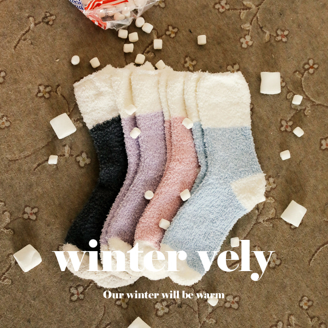 [WINTER VELY] Two-Toned Quarter Crew Socks