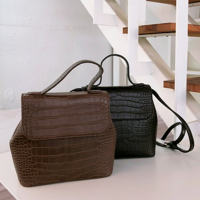 Flap Closure Faux Croc Leather Bag