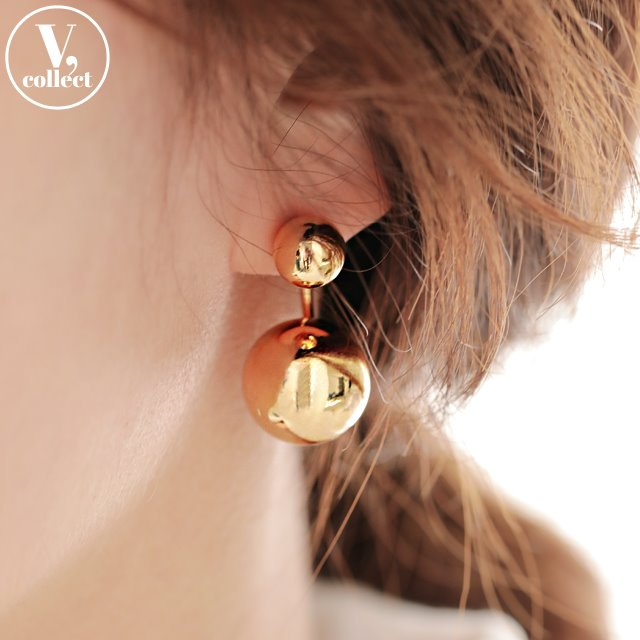 [V,Collect] Two-Way Double Ball Earrings