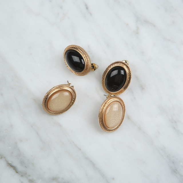 Gold-Toned Frame Faux Gem Earrings