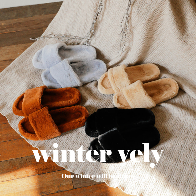 [WINTER VELY] Fuzzy Solid-Tone Slippers