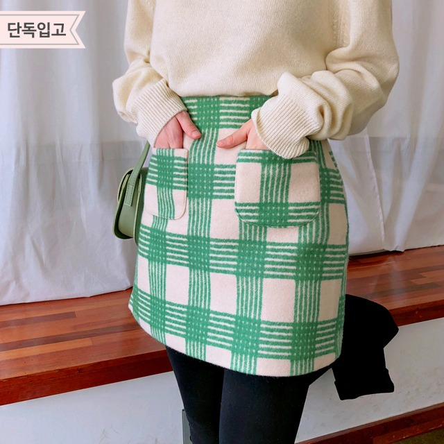 Patch Pocket Check Skirt