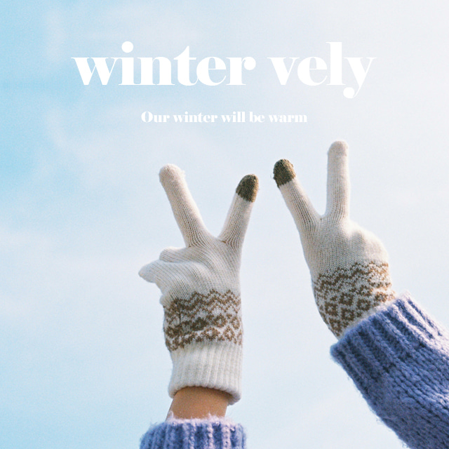 [WINTER VELY] Patterned Knit Hand Gloves
