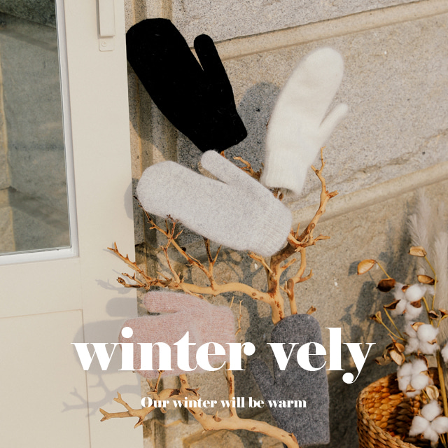 [WINTER VELY] Solid-Toned Knit Hand Mittens