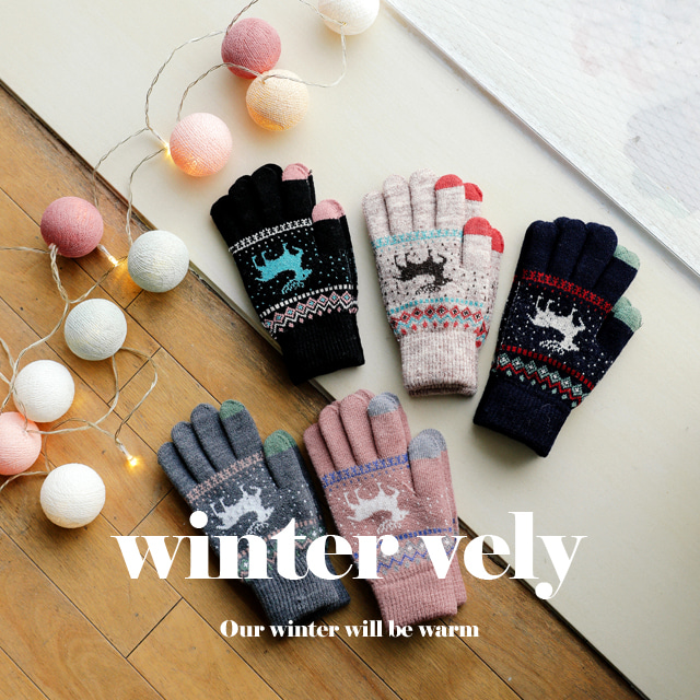 [WINTER VELY] Reindeer Theme Knit Hand Gloves