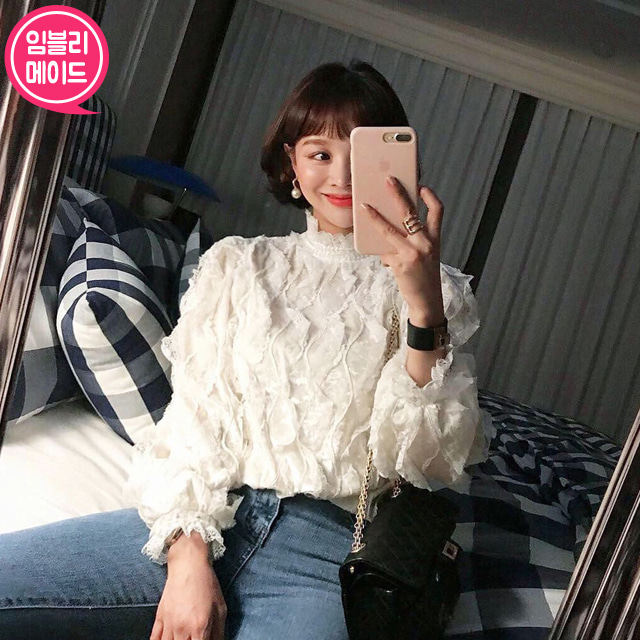 Lace-Trimmed Velvet Blouse