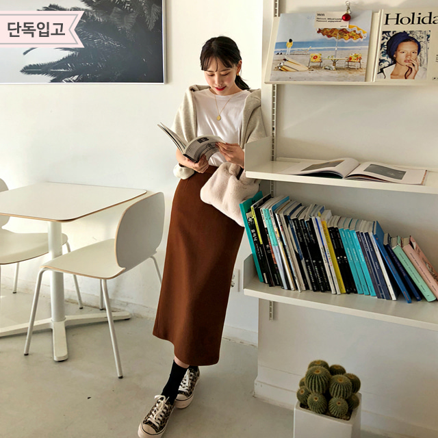 Woolen Straight-Cut Skirt