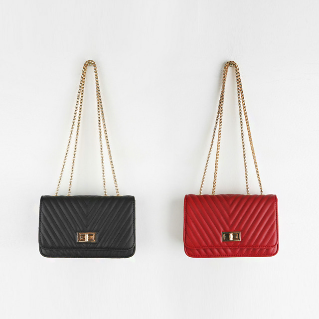 Chevron Quilted Leatherette Bag