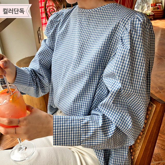 Puff Shoulder Gingham Check Blouse