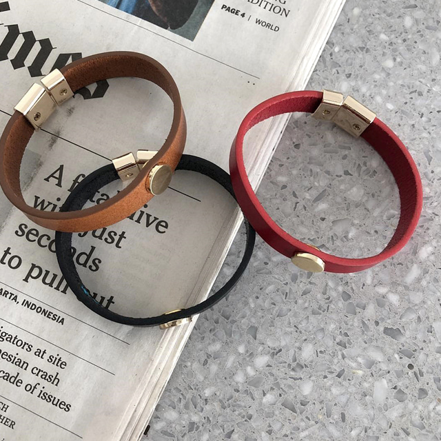 Metal Accent Leather Bracelet