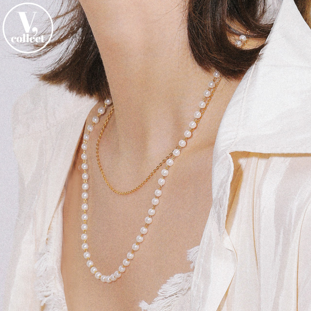 [V,Collect] Faux Pearl and Chain Layered Necklace
