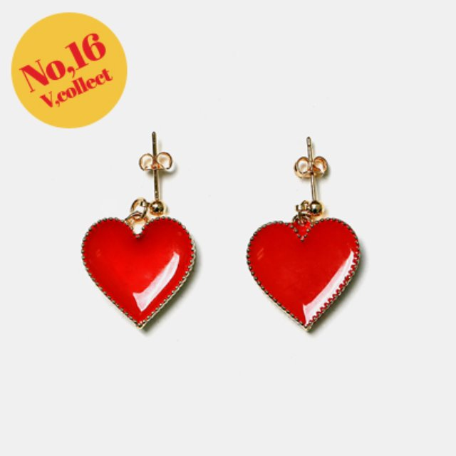 [V,Collect] No,16 Gold-Plated Heart Earrings