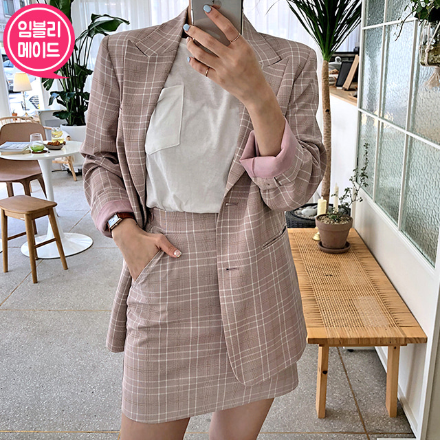 Check Peak Lapel Jacket and Mini Skirt Set