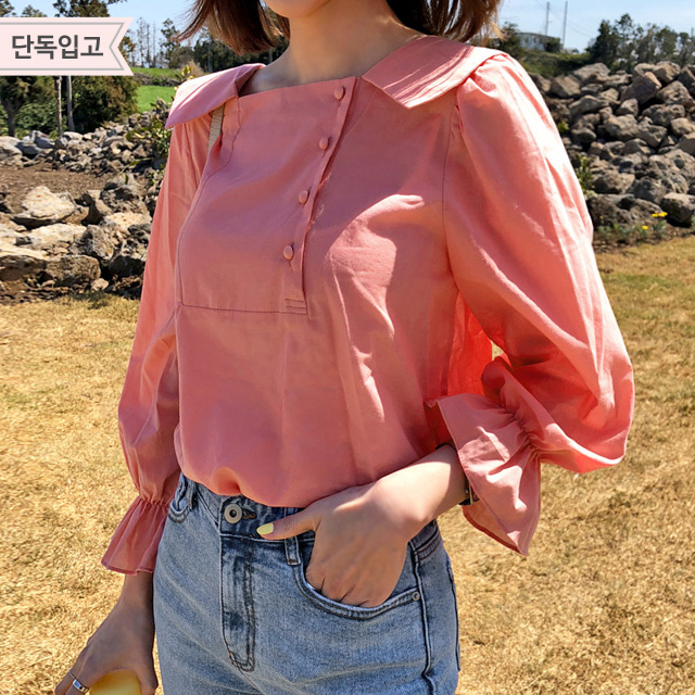 Off-Center Button Collared Blouse