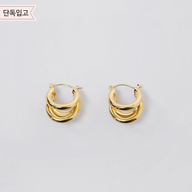 Gold-Toned Triple Hoop Earrings