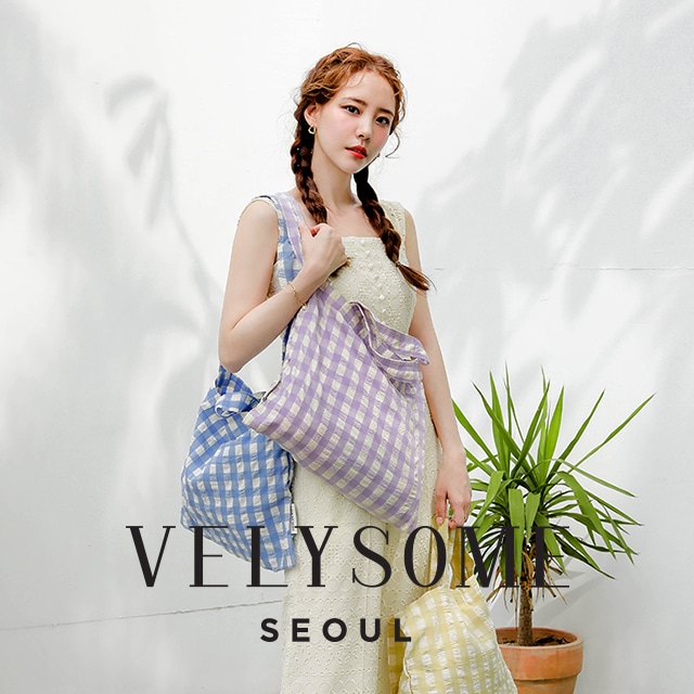 [VELYSOME] Gingham Check Tote Bag