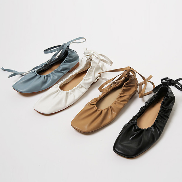 Self-Tie Square Toe Ballet Flats