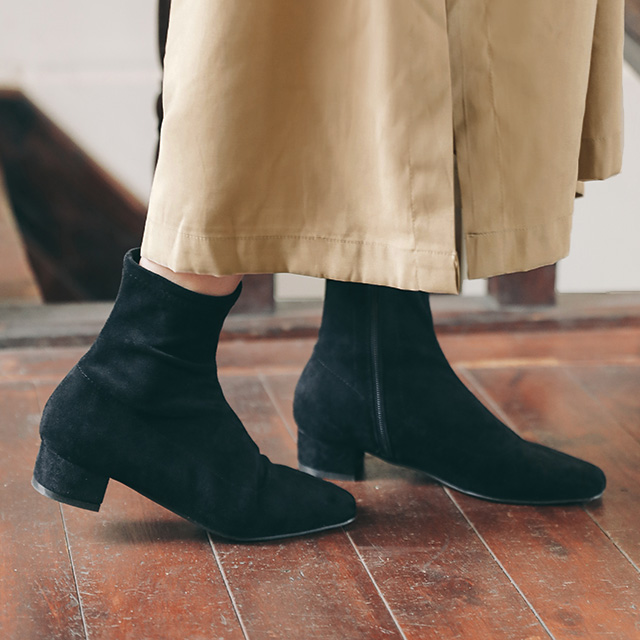 Square Toe Zip-Up Ankle Boots