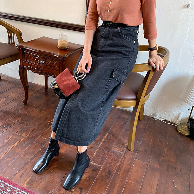 Pocket Accent Long Denim Skirt