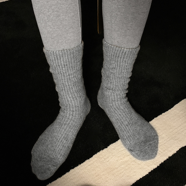 Wool-Blend Ribbed Cuff Socks